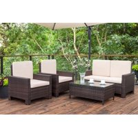 Walnew 4 Pieces Outdoor Patio Furniture Sets Rattan Chair Wicker Conversation Sofa Set, Outdoor Indoor Backyard Porch Garden Poolside Balcony Use Furniture, Beige