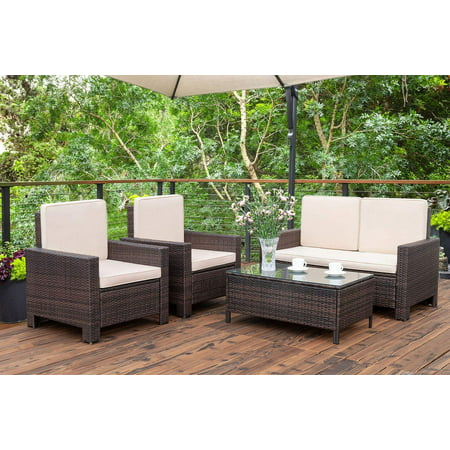 Walnew 5 Pieces Outdoor Patio Furniture Sets Rattan Chair Wicker Conversation Sofa Set, Outdoor Indoor Backyard Porch Garden Poolside Balcony Use Furniture (Beige) ()