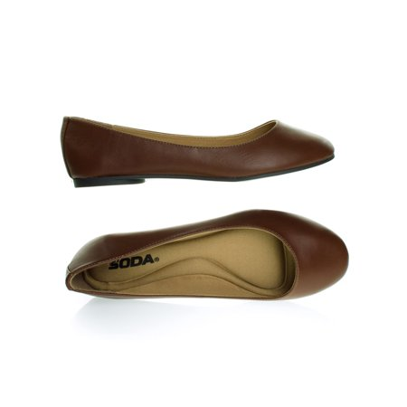 Kreme by Soda, Foam Padded Insole Ballarina Ballet Flat, Cushioned Slip On Comfort Shoe