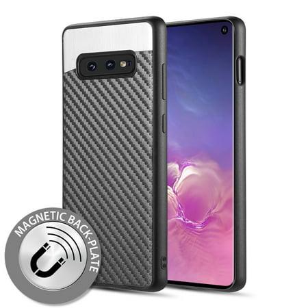 Samsung Galaxy S10e, S10 E Phone Case Hybrid Armor Protective Bumper TPU Cover Shock-Absorption [BLACK Carbon Fiber] [Light Thin] [Metal Plate] Phone Case for Samsung Galaxy S10 E /S10e (5.8
