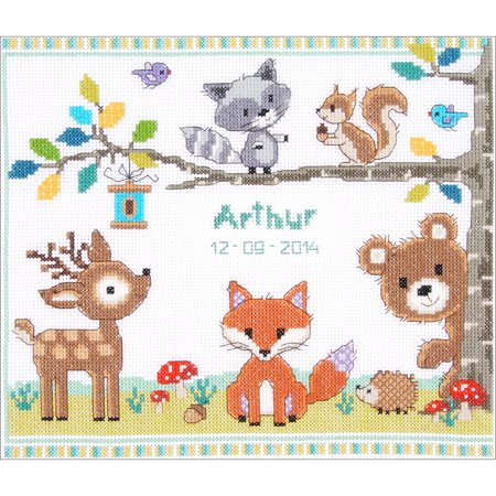 Forest Animals Birth Record On Aida Counted Cross Stitch Kit - 11.2