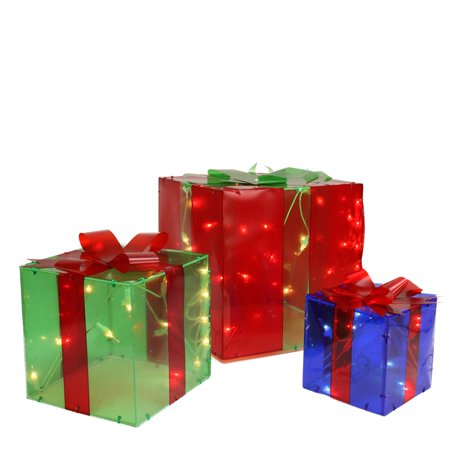 3-Piece Lighted Red Green and Blue Gift Box Presents Christmas Yard Art Decoration Set - Christmas Present Boxes