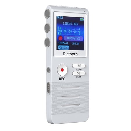 Compumatic Time Recorders - DICTOPRO X100 Digital Voice Activated Recorder for HD Recording Of Lectures And Meetings With Double Microphone, Noise Reduction Audio, Portable Mini Tape Dictaphone, 8GB Memory, 700h Recording Time
