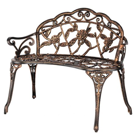 Zimtown Courtyard Park Outdoor Patio Bench Leisure Rose Cast Aluminum Chair ()