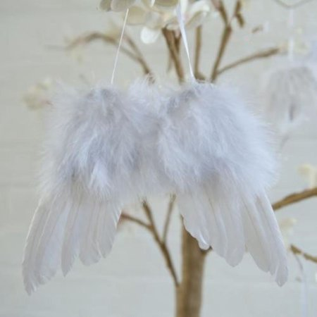 10Pcs Guardian Angel White Feather Wing Christmas Tree Hanging Ornament Decor ()
