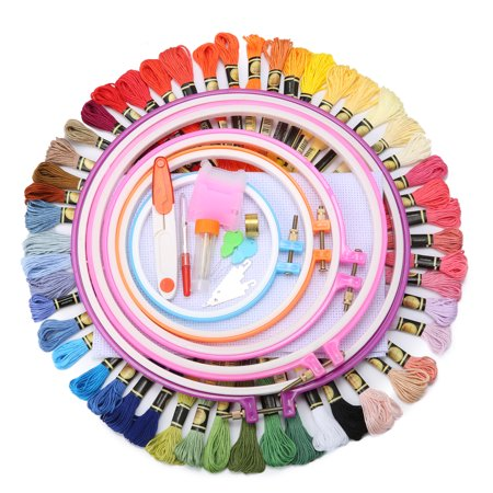100Pcs/Set Full Range of Embroidery Starter Kit Cross Stitch Tool Kit Including 5Pcs Plastic Embroidery Hoop, 50 Colors Threads, 2Pcs Embroidered Cloth and and Needles