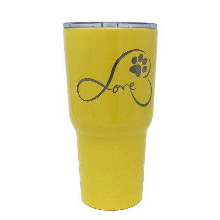Tsc Powder Coated Infinite Love Pawprint Engraved Tumbler With Lid 30 Yellow