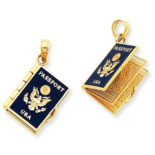 14k Yellow Gold Enamel 3-D Passport Pendant.