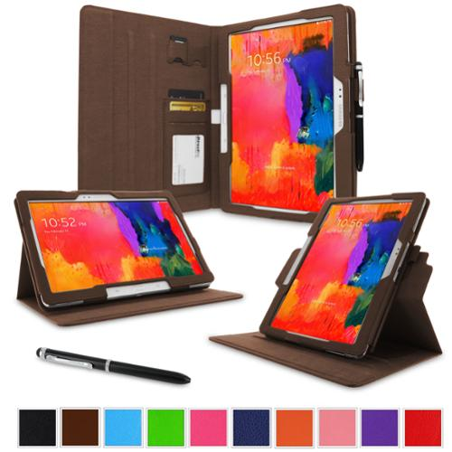 """rooCASE Samsung Galaxy Tab Pro 10.1 / Note 10.1 2014 Edition Case - Dual View Multi Angle Landscape Portrait Stand 10.1-Inch 10.1"""" Tablet Case - Brown (With Auto Wake / Sleep Cover)"""