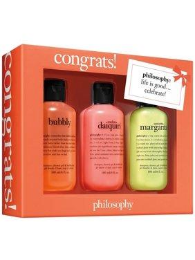 ($32 Value) Philosophy Congrats! Shampoo, Shower Gel & Bubble Bath, 3 Piece Gift Set