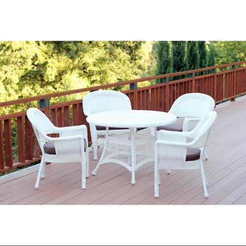 5-Piece White Resin Wicker Chair & Table Patio Dining Furniture Set Brown Cushions by CC Outdoor Living