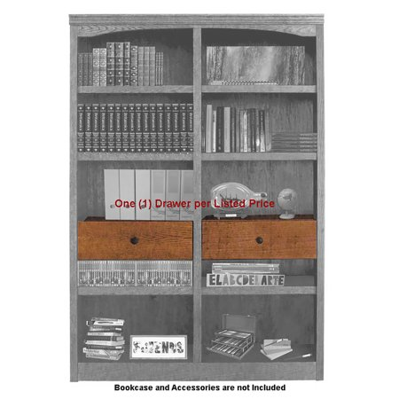 Adjustable Drop Shelf and Drawer Unit For Concepts in Wood Double Wide Bookcases - Oak Finish