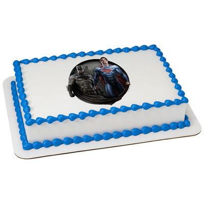 Batman V Superman 75 Inch Round Edible Cake Topper Walmartcom