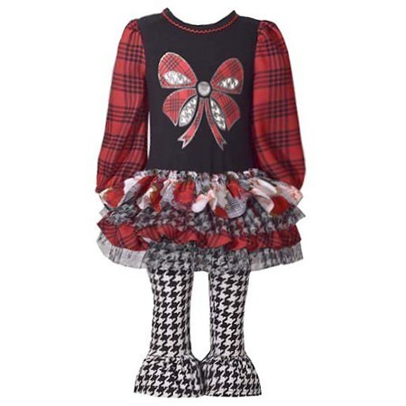 Bonnie Jean Little Girls Red Plaid Houndstooth Ruffle 2 Pc Pant Outfit](Bonnie Jean Halloween Outfit)