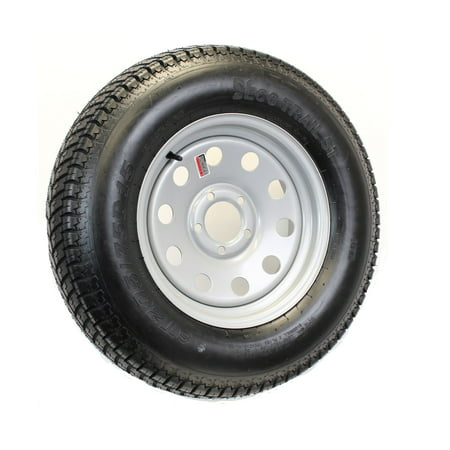 - Trailer Tire On Rim ST205/75D15 F78-15 205/75-15 LRC 5 Lug Wheel Silver Mod