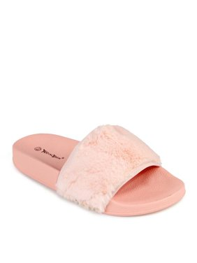 b12d55a06c1c Free shipping. Product Image Nature Breeze Faux Fur Women s Slip On Sandals  in Pink