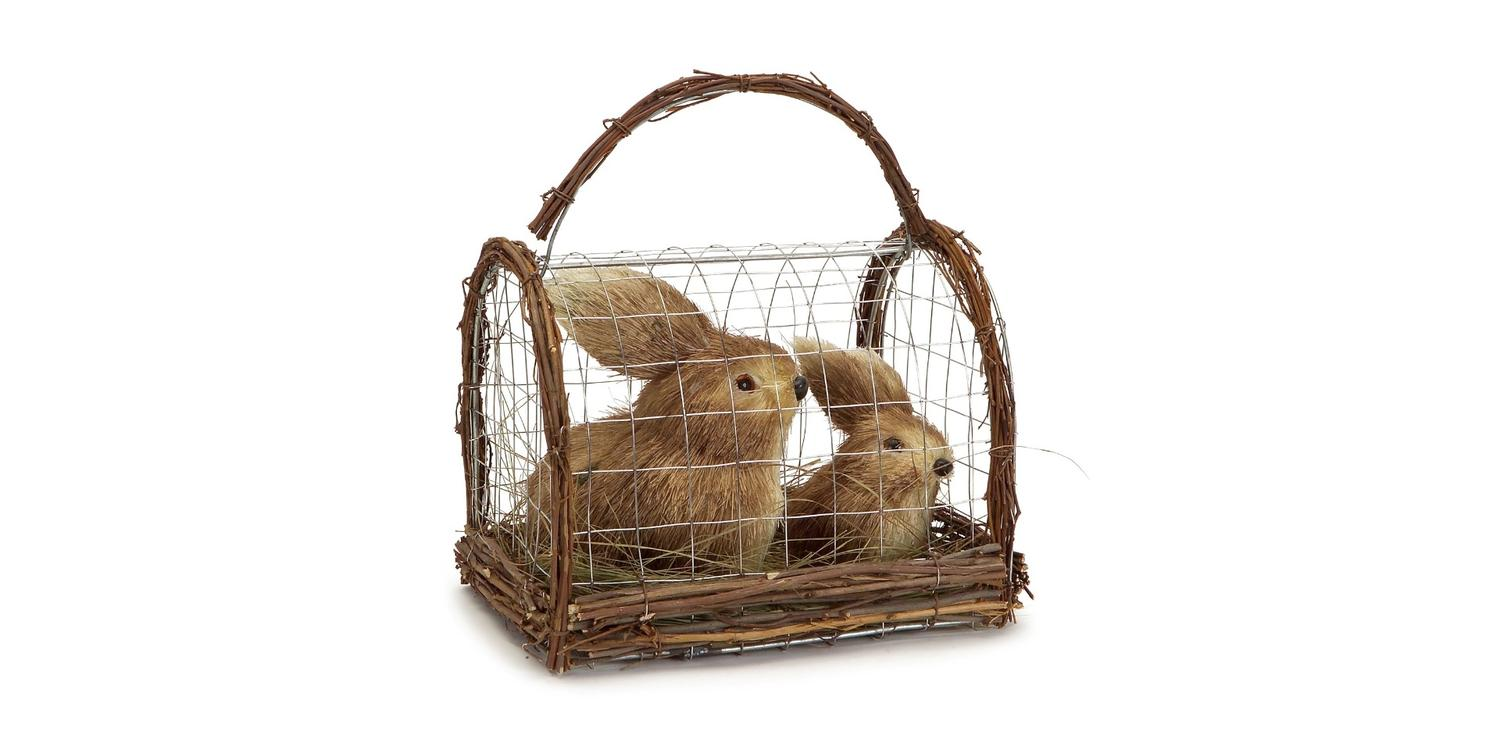 """Pack of 4 Brown Bunnies In a Cage Spring Easter Table Top Decorations 8.25"""" by Melrose"""