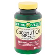 Spring Valley Coconut Oil Softgels, 1000 mg, 100 count