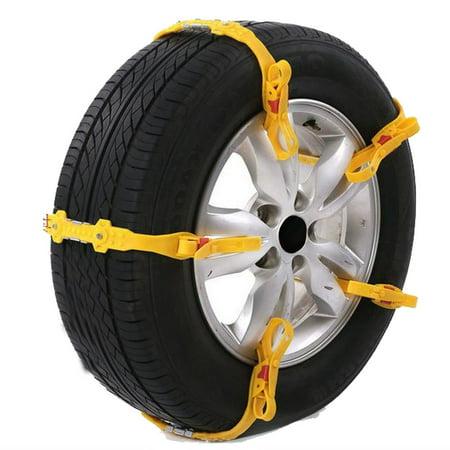 ALEKO Adjustable Fit Emergency Anti-Skid Snow Chain Straps - Yellow - 10