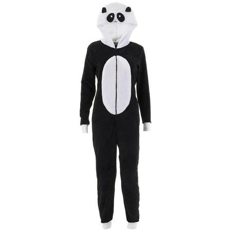 Panda One Piece Pajamas (Pillow Talk Women's Panda Hooded One-Piece Plush)