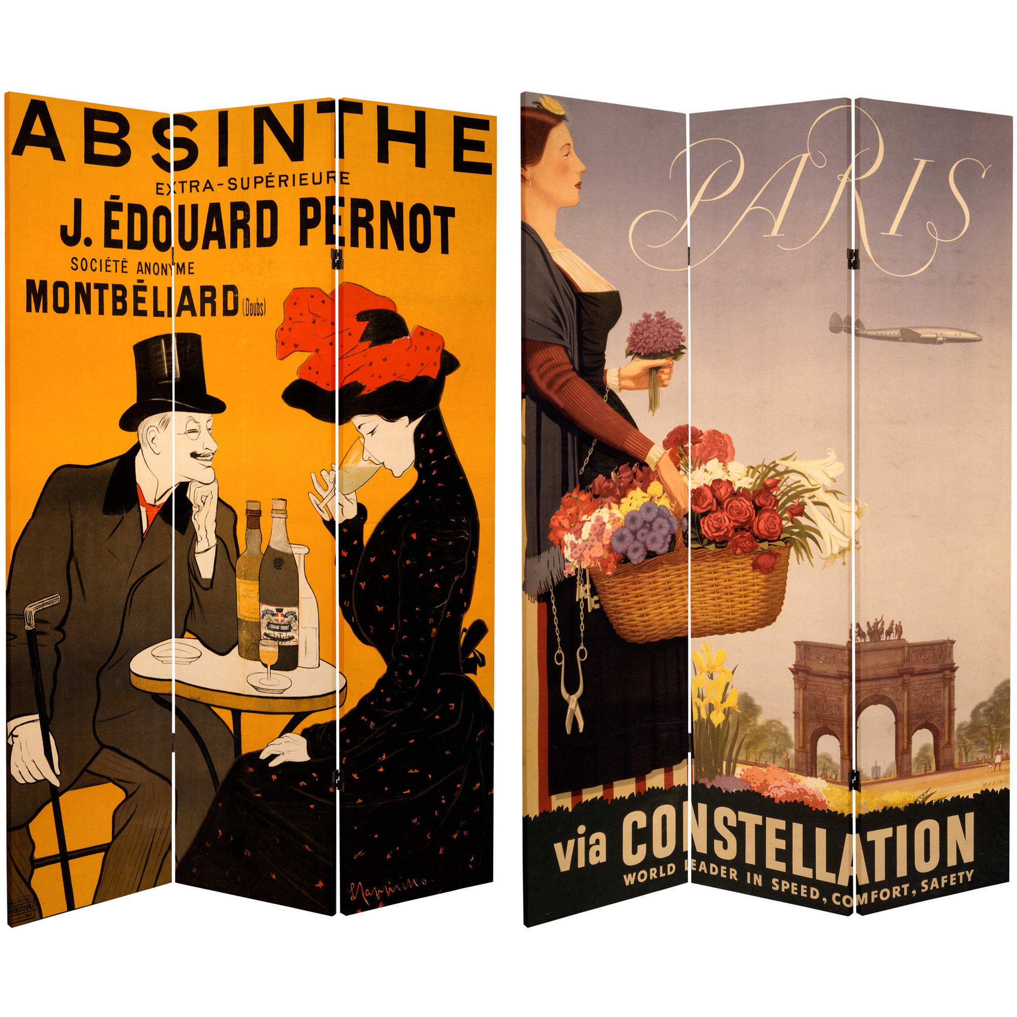 6' Tall Double Sided Absinthe Canvas Room Divider