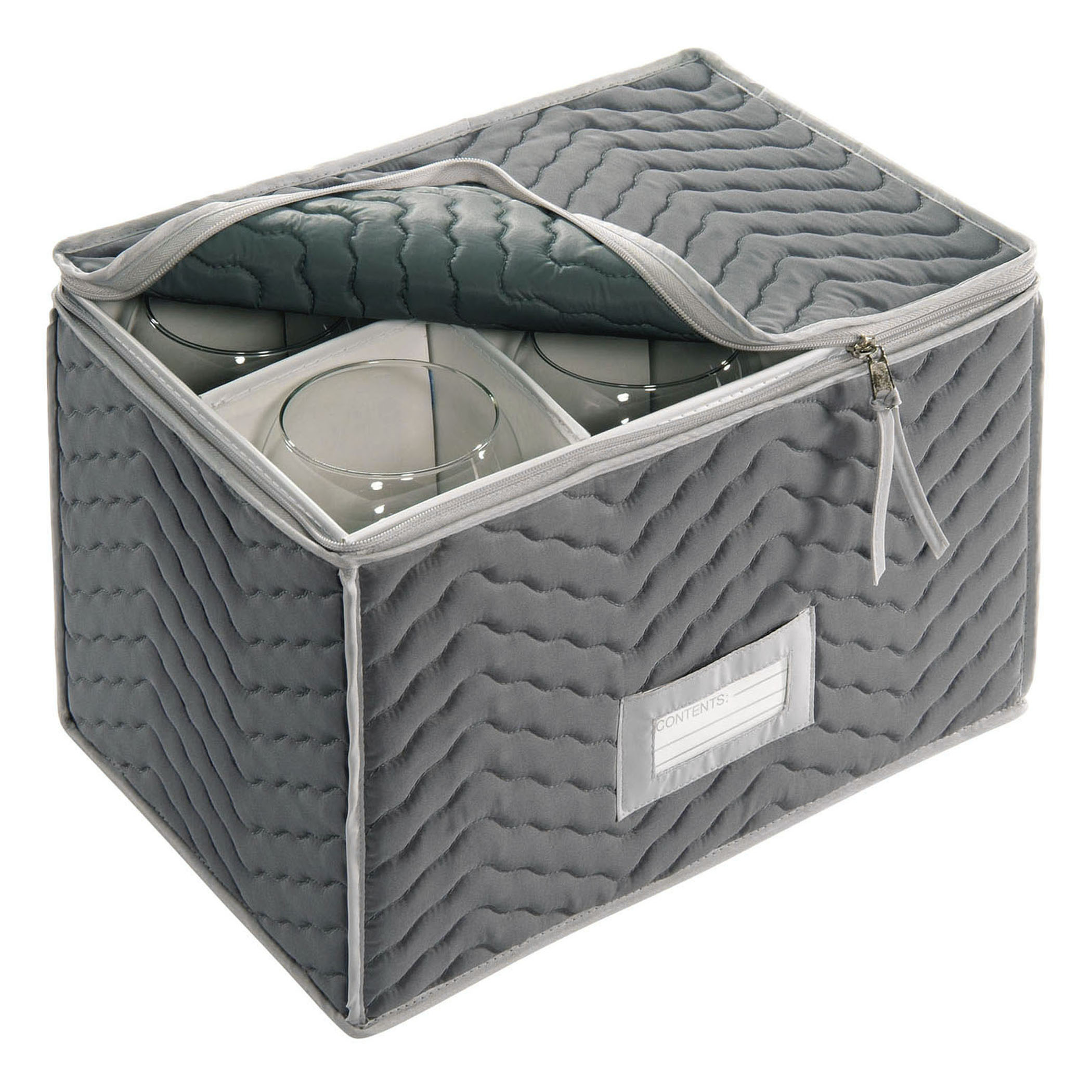 GREY QUILTED MICRO FIBER CHINA STORAGE,  Deluxe/Micro Fiber Wine Goblets