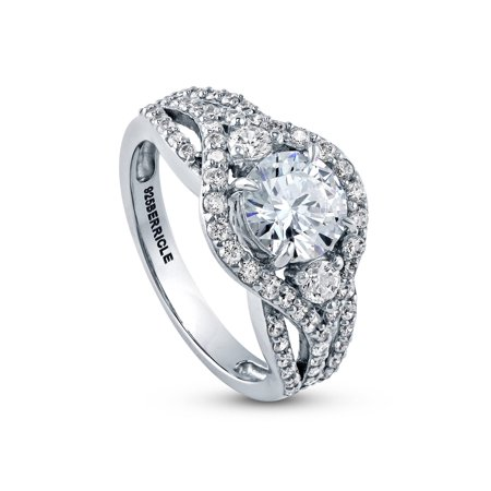 Rhodium Plated Silver Cubic Zirconia CZ Halo 3-Stone Engagement Ring 2.08 CTW Size 10 ()