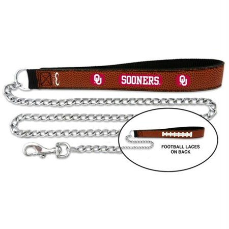 Oklahoma Sooners Football Leather and Chain Leash - (Oklahoma Sooners Pebble Leather)