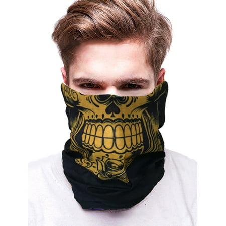 IClover Tactical Skull Face Shield Sun Mask Balaclava Neck Gaiter Headband Bandana Wrap