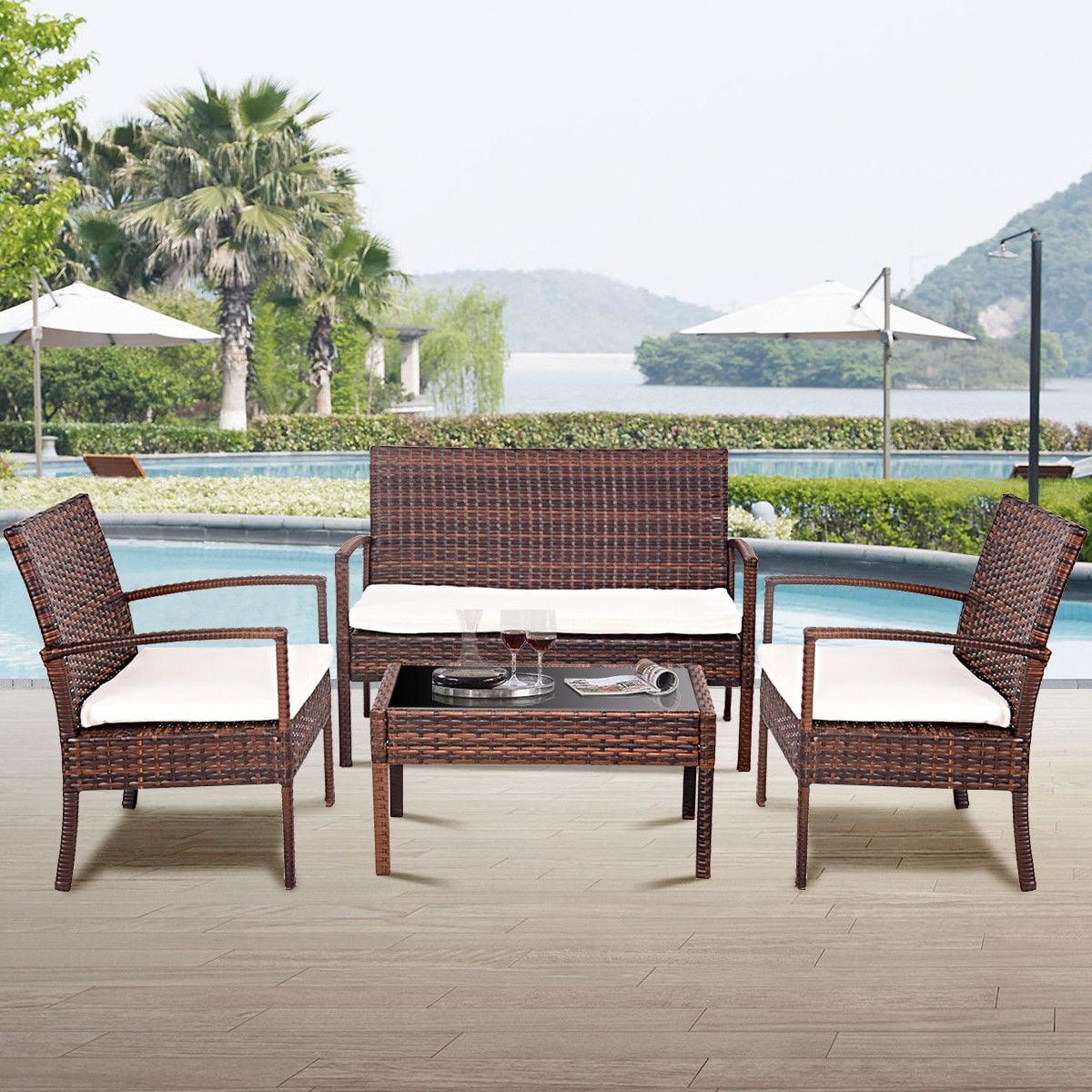 Brown Wicker Patio Furniture.Costway 4 Pc Rattan Patio Furniture Set Garden Lawn Sofa Wicker Cushioned Seat Brown