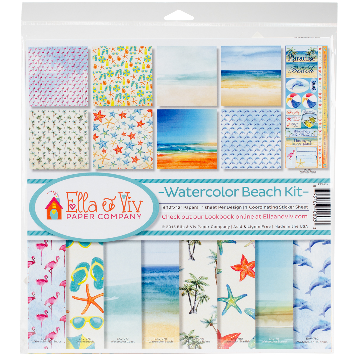 "Ella & Viv Collection Kit 12"" x 12"" - Watercolor Beach"