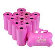 Pet Waste Bags, Dog Waste Bags, Bulk Poop Bags on a roll, Clean up poop bag refills  + FREE Bone Dispenser (220 Bags)