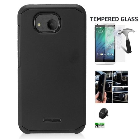 Alcatel Tetra Case, Phone Case for Alcatel Tetra (5041C), Hybrid Shockproof  Slim Hard Cover Protective Case + Air Vent Car Mount Phone Holder (Black)