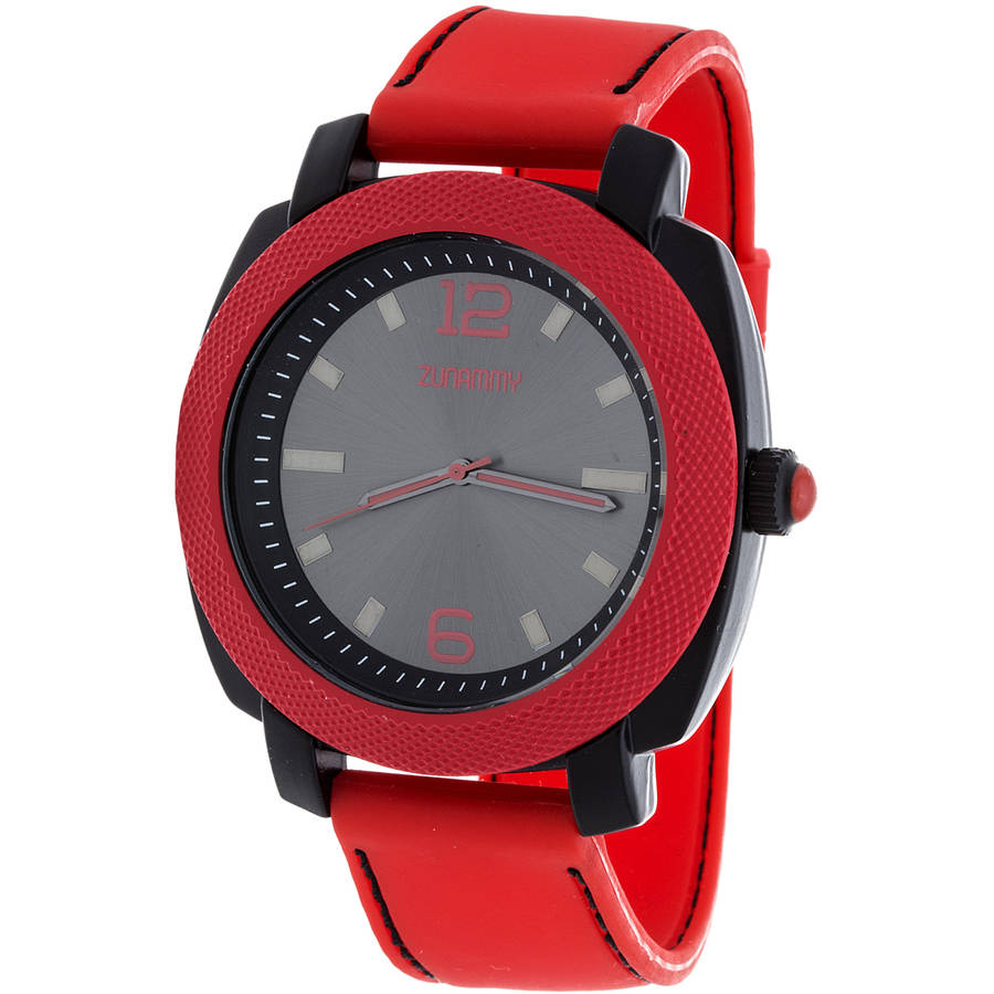 Zunammy Men's Sports Watch, Red Rubber Strap