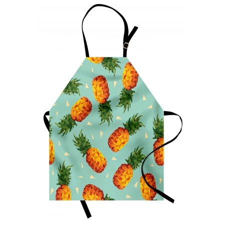 Retro Apron Poly Style Pineapples Motif Vintage Beach Summer Modern Illustration, Unisex Kitchen Bib Apron with Adjustable Neck for Cooking Baking Gardening, Seafoam Olive Green Orange, by Ambesonne