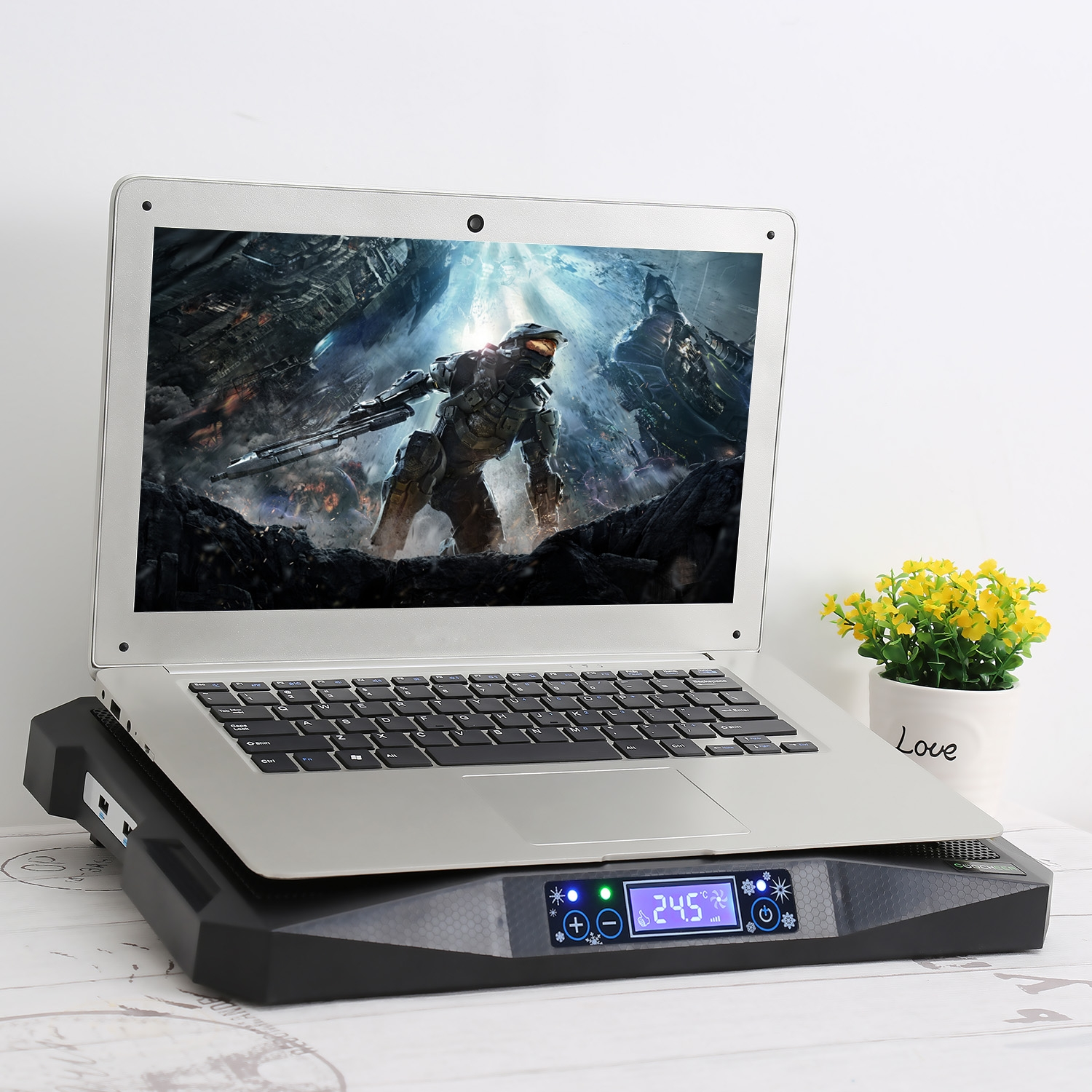 Laptop Cooling Pad LED Screen with 3 Cooling Fans Low Noise HITC by