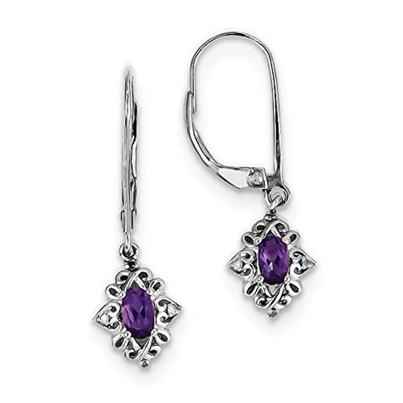 925 Sterling Silver Genuine Diamond And Amethyst Dangle Leverback Earrings  0 03 Cttw  I J Color  I2 Clarity