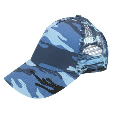 408b4d0d04237 SA106 - Mens Low Crown 5 Panel Camouflage Twill Mesh Trucker Hat Blue Camo  - Walmart.com