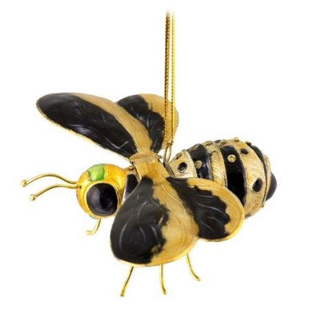 Black and Yellow Bumble Bee Articulated Cloisonne Metal Christmas Tree Ornament](Bee Ornaments)