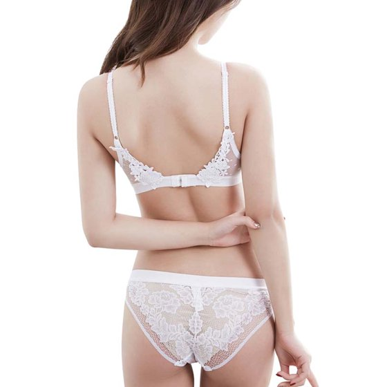 7ee90f76d4f OUMY - OUMY Women Wireless Floral Sheer Lace Embroidery Bra Panty Lingerie  Set - Walmart.com