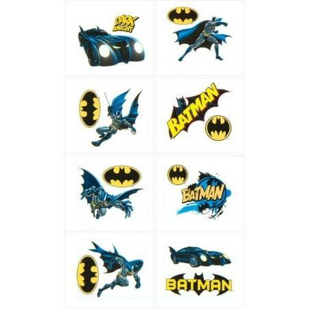Batman Heroes & Villians Temporary Tatoos, 16 Tatoos Included - Batman Logo Tattoo