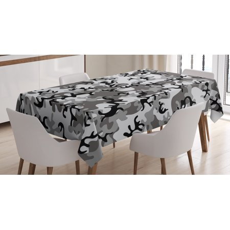 Camo Tablecloth, Battledress Concept Concealment Artifice Hiding Force Uniform Pattern Fashion, Rectangular Table Cover for Dining Room Kitchen, 52 X 70 Inches, Black Grey Silver, by Ambesonne