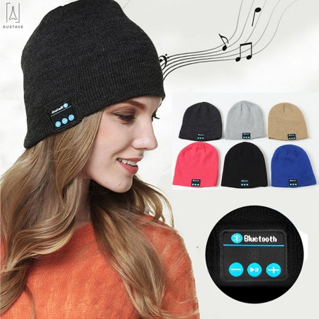 GustaveDesign Bluetooth Knit Hat, Wireless Bluetooth Headset Hat Music Hat with Stereo Speakers for Outdoor Sports, Skiing ,Running, Skating, Walking (Handset Speaker)