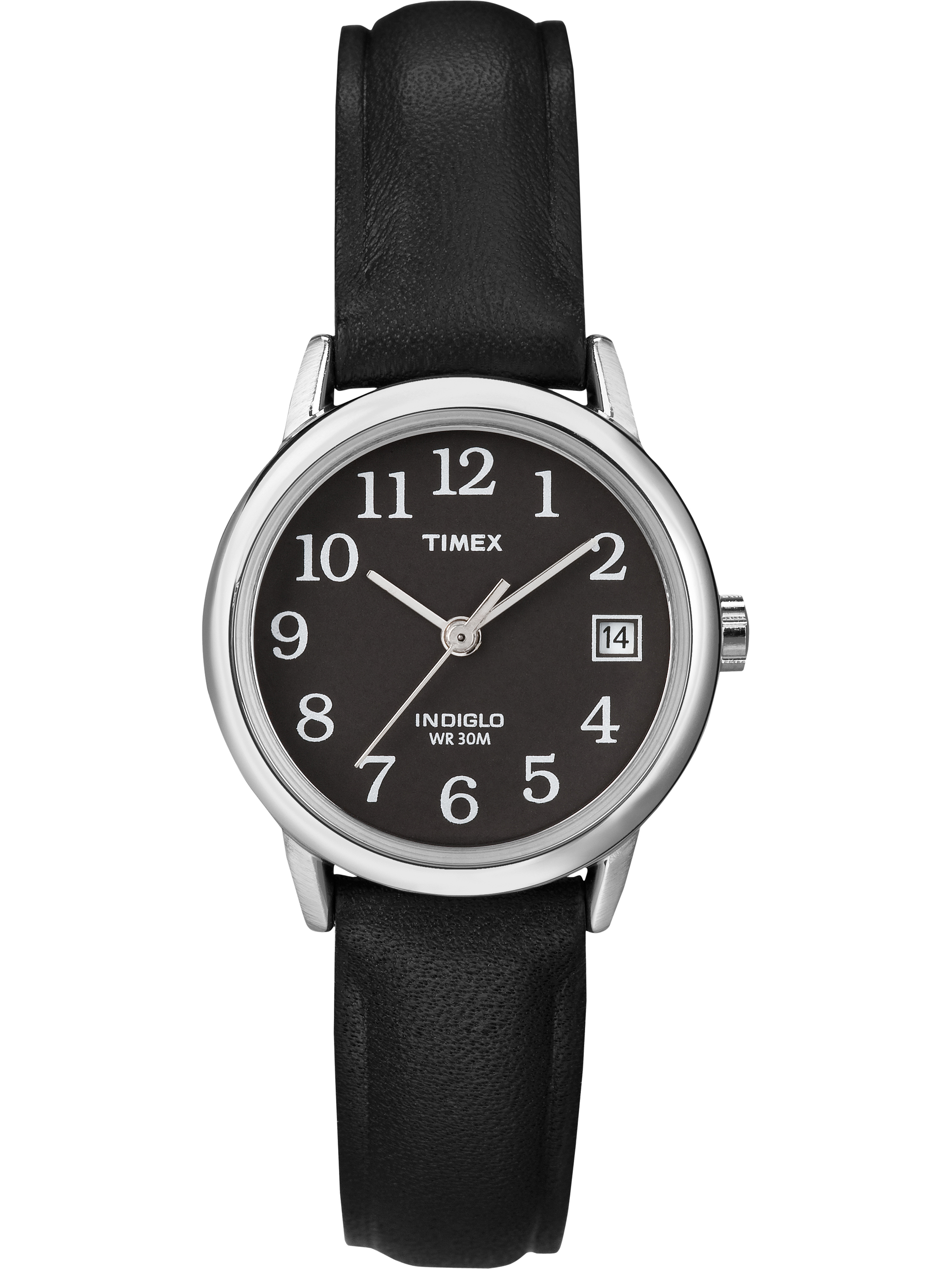 Timex Women's Easy Reader Watch, Black Leather Strap