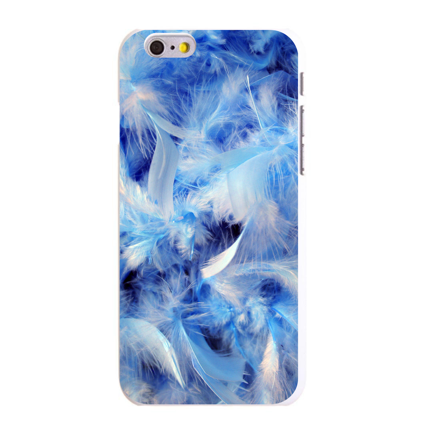 "CUSTOM White Hard Plastic Snap-On Case for Apple iPhone 6 / 6S (4.7"" Screen) - Blue Feathers"