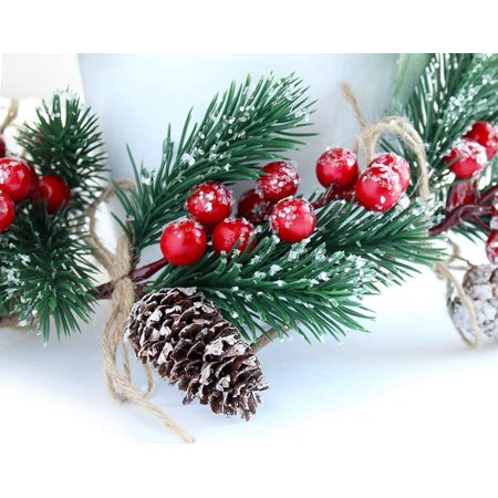 Red Berry Stems Pine Branches Evergreen Christmas Berries Décor 8 Pcs Artificial Pine Cones Branch Craft Wreath Pick Winter Holiday Floral Picks Holly Stem For Decoration Diy Garland Crafts Walmart Canada