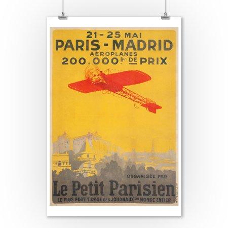 1910 Art Poster (Paris - Madrid - Le Patit Parisien Vintage Poster France c. 1910 (9x12 Art Print, Wall Decor Travel Poster) )