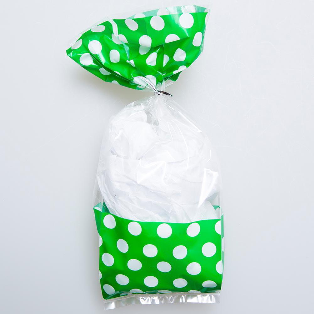 Green Window Polka Dot Cellophane Bags