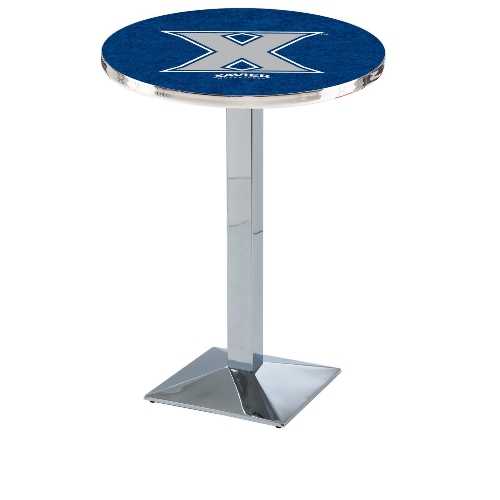 NCAA Pub Table by Holland Bar Stool, Chrome - Xavier Musketeers, 36'' - L217