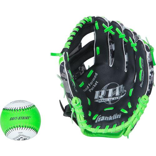 "Franklin Sports 9.5"" PVC Baseball Glove with Ball"